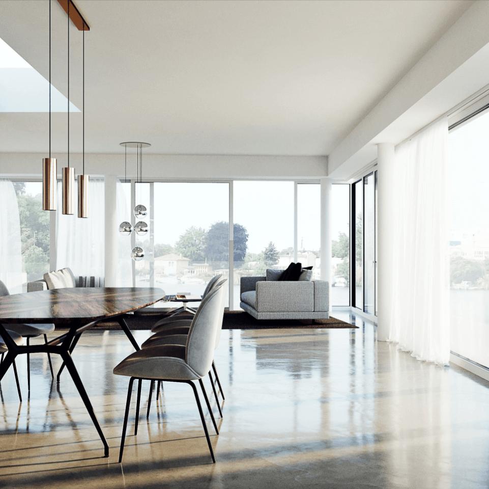 Vier Zimmer, Küche, Bootsanleger